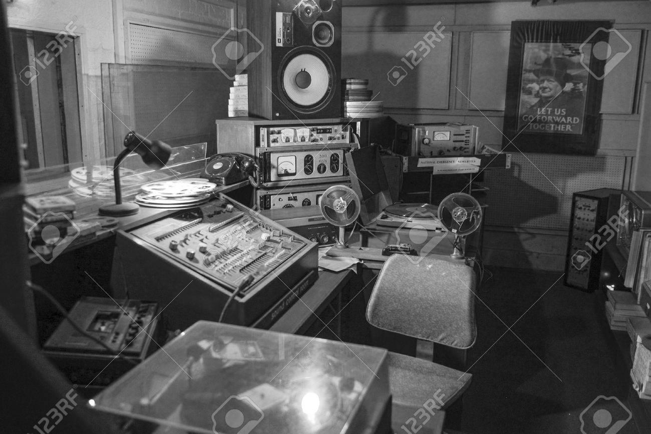 TROYWOOD, SCOTLAND -JULY 26:Vintage radio studio underground