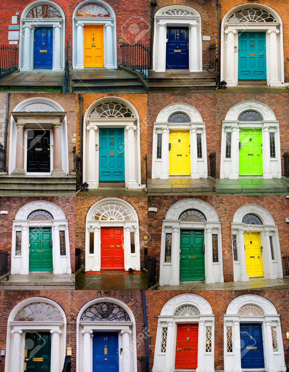un collage de fotos de puertas de colores para casas y viviendas foto de archivo