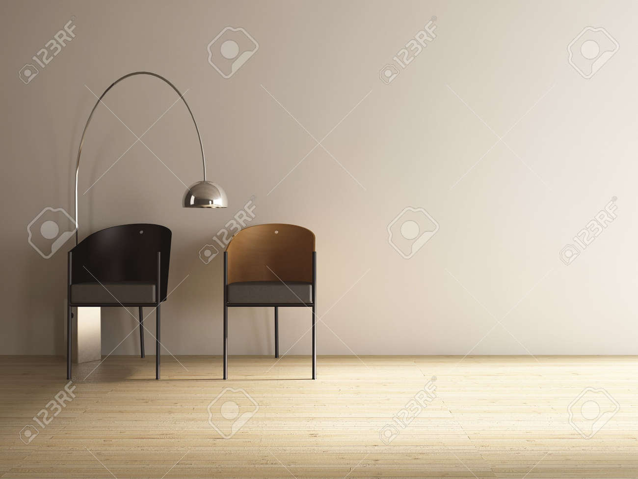 two chairs to face blank wall - 5451239