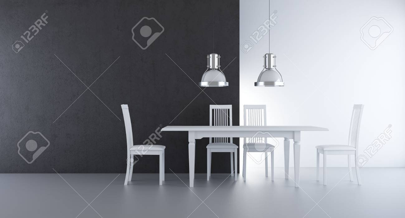 Chair and table to face a blank wall - 5468250