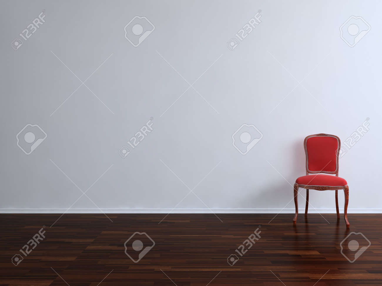 eb92c54c72f Red Chair to face a blank wall Stock Photo - 5503610