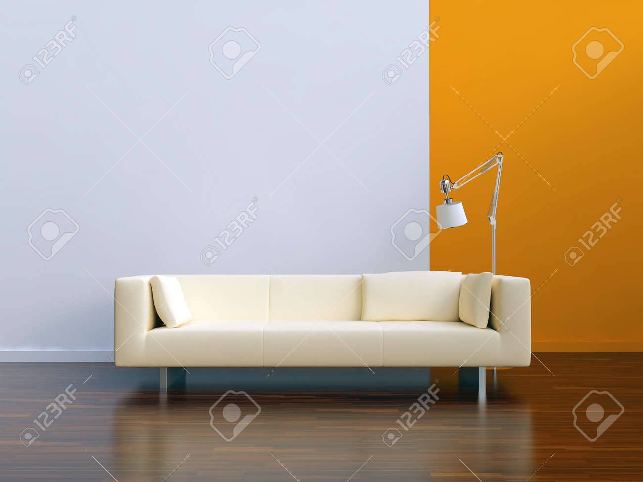 white Couch to face a blank wall - 5503612