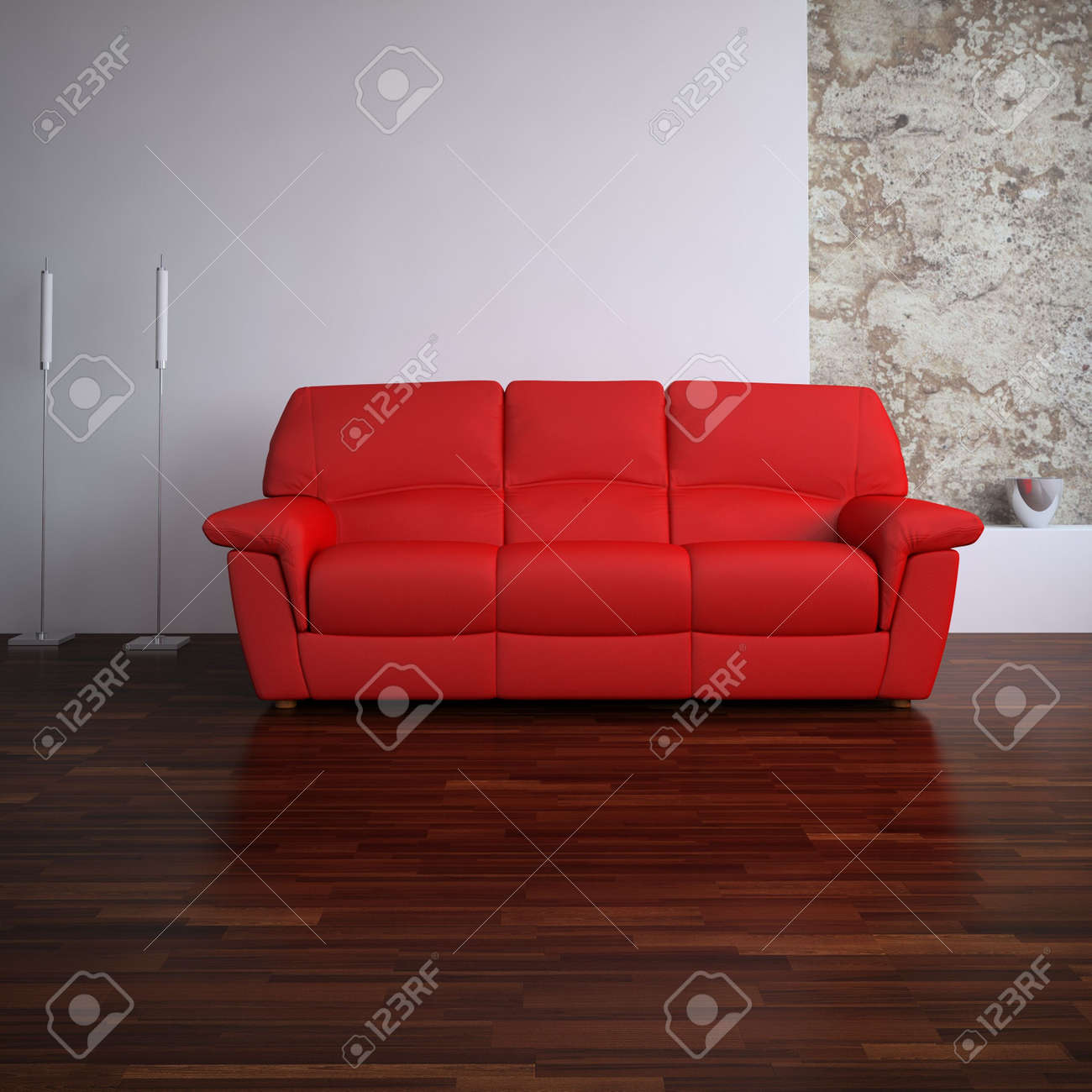 red leather Couch to face a blank wall - 5503621