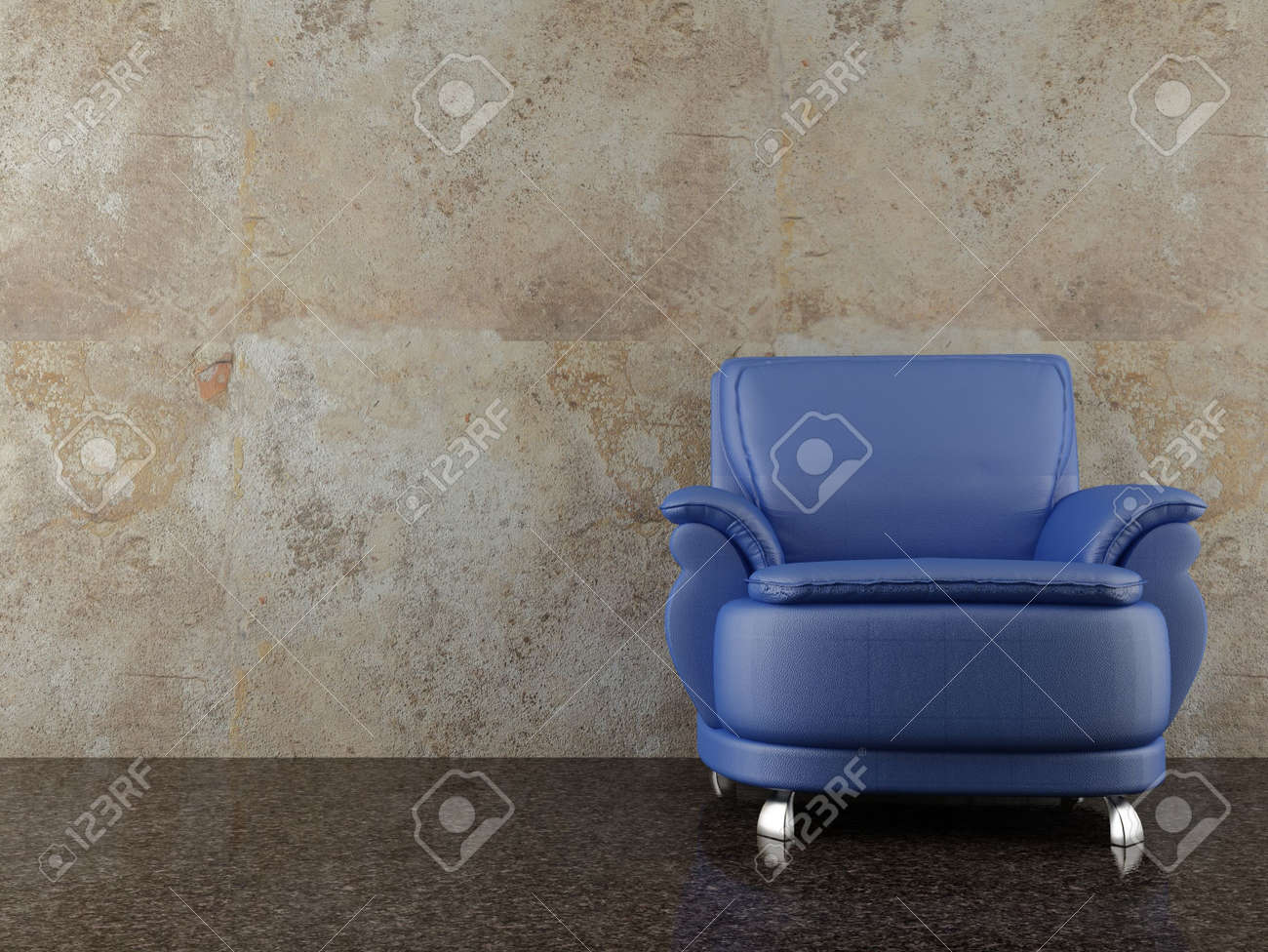 34d24f64081 Blue Leather Chair to face a blank dirty wall Stock Photo - 5533445