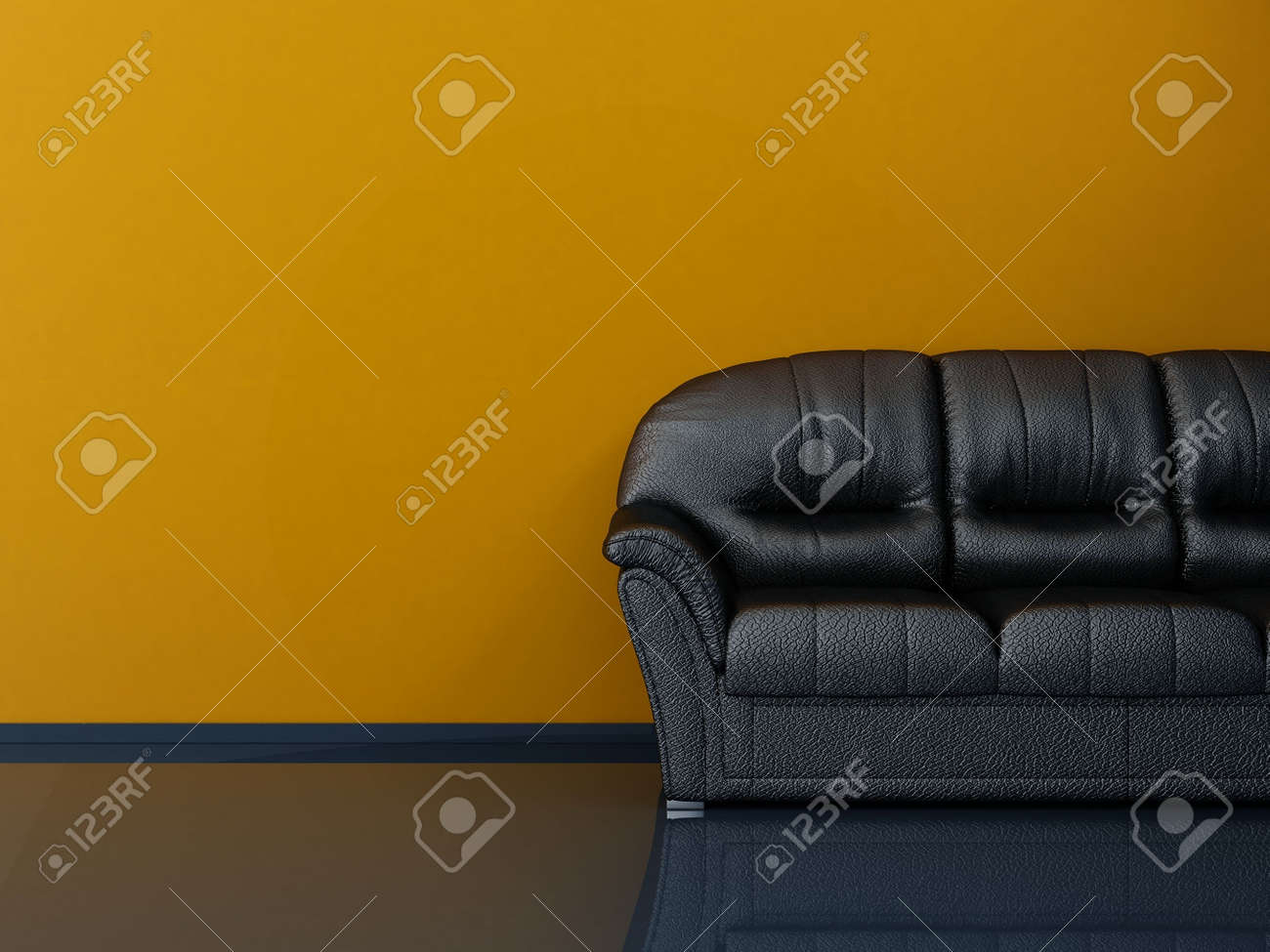 Black Leather Couch To Face A Blank Yellow Wall - With Stone Floor Stock  Photo -