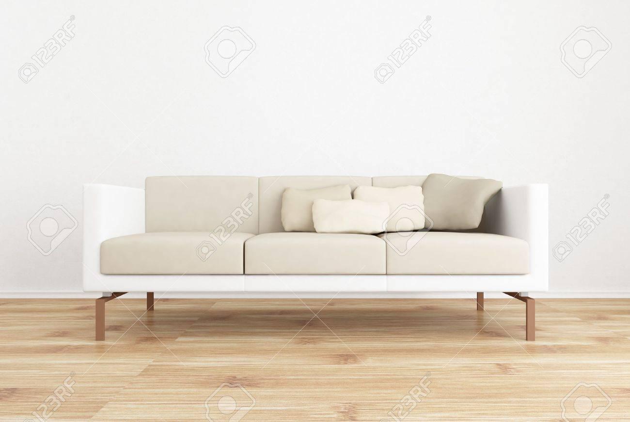 Weiße Couch, Um Eine Leere Weiße Wand Gesicht   Mit Parkettboden  Lizenzfreie Bilder   5533461