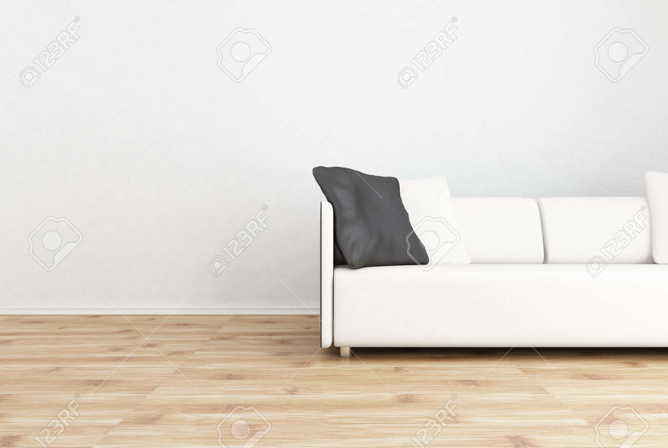 Astounding White Leather Couch To Face A Blank Wall With Black Cushion Machost Co Dining Chair Design Ideas Machostcouk