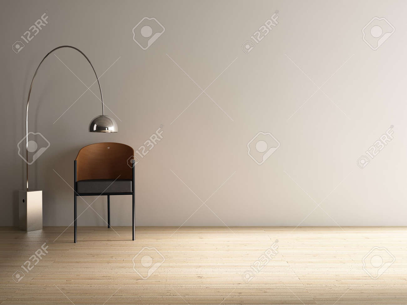 Modern Chair with floor lamp to face a blank white wall - 5533452
