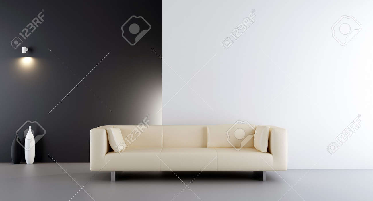 White leather couch to face a blank white and black wall - 5533456