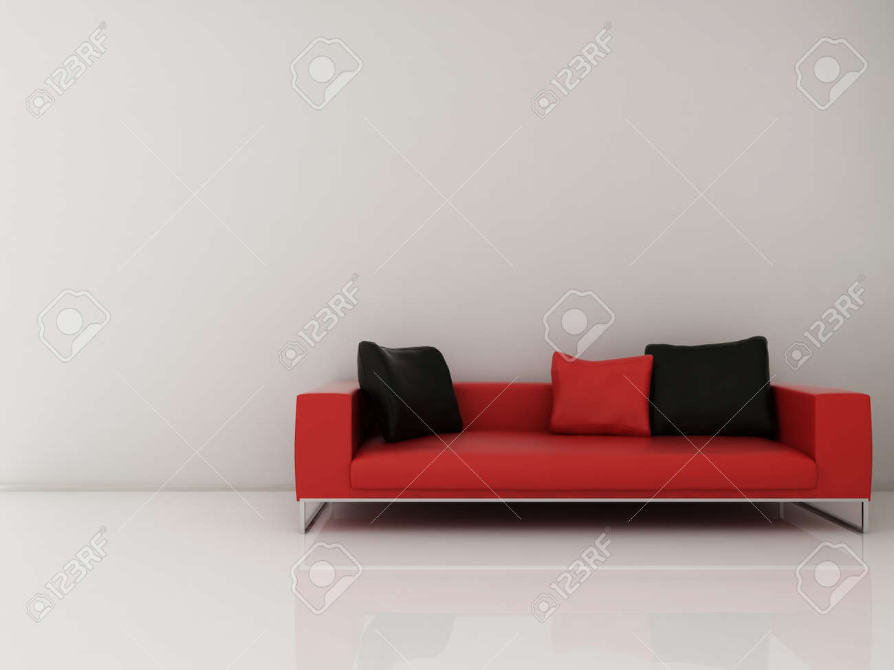 Red Leather Couch to face a blank white wall - 5573582
