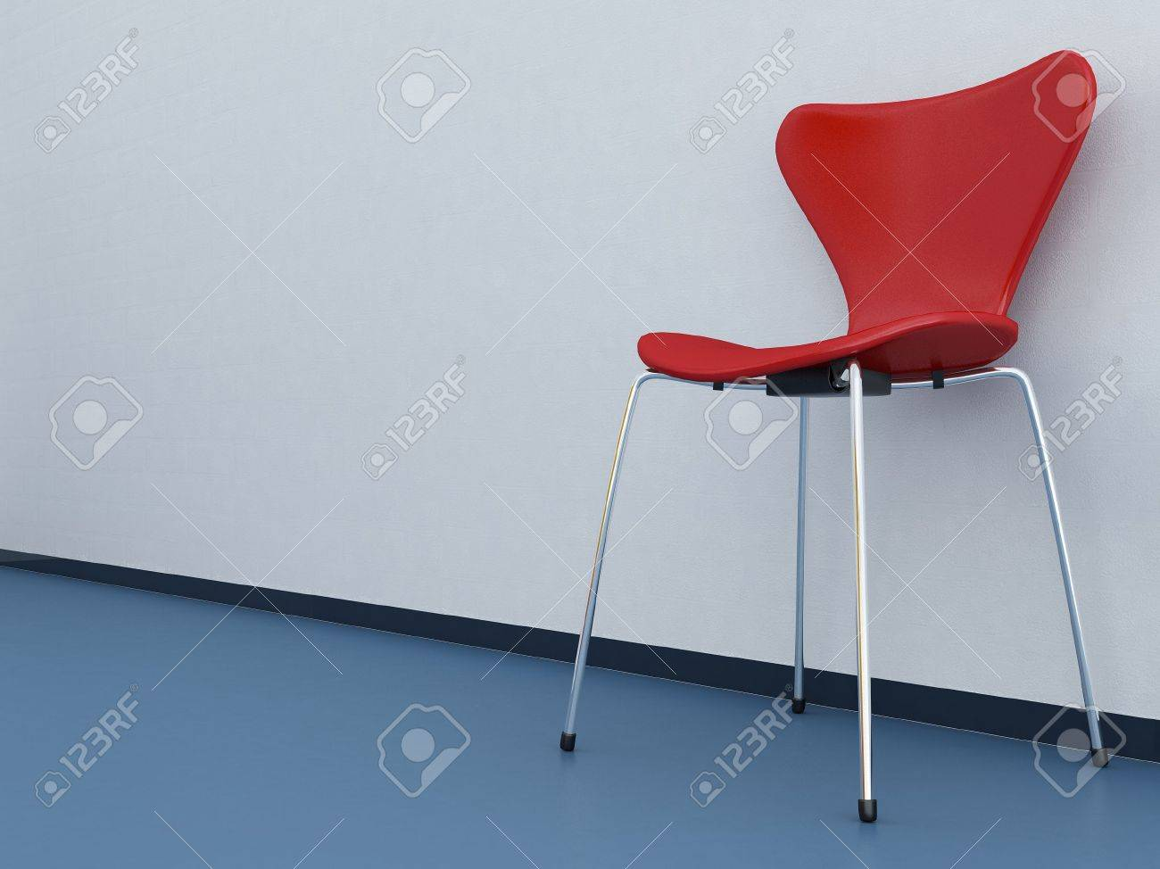 Wondrous Modern Red Chair To Face A Blank White Wall Blue Floor Pabps2019 Chair Design Images Pabps2019Com