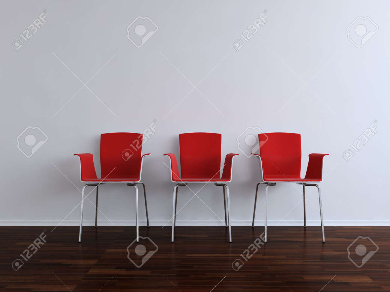 Three modern red Chais to face a blank white wall - 5573581