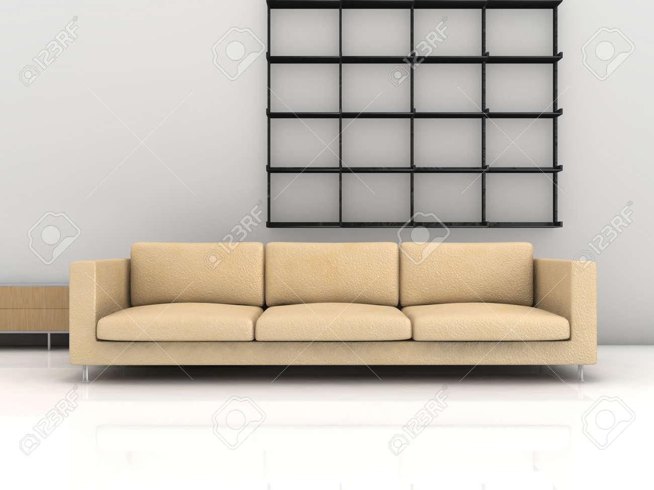 Living Room Living Room Setting minimalist living room setting scene couch and rack stock photo rack