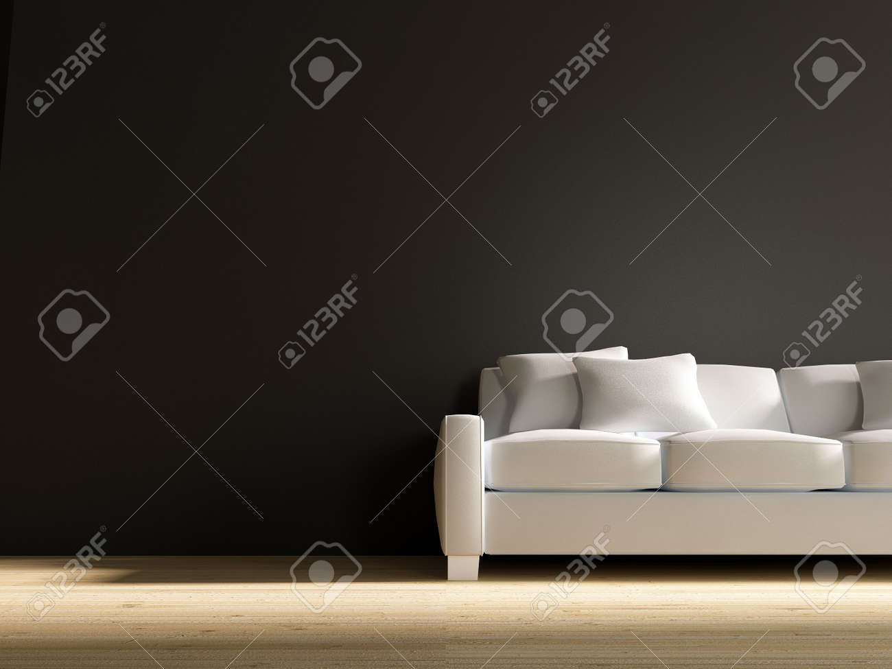 White leather Couch to face a blank black wall - 5573577