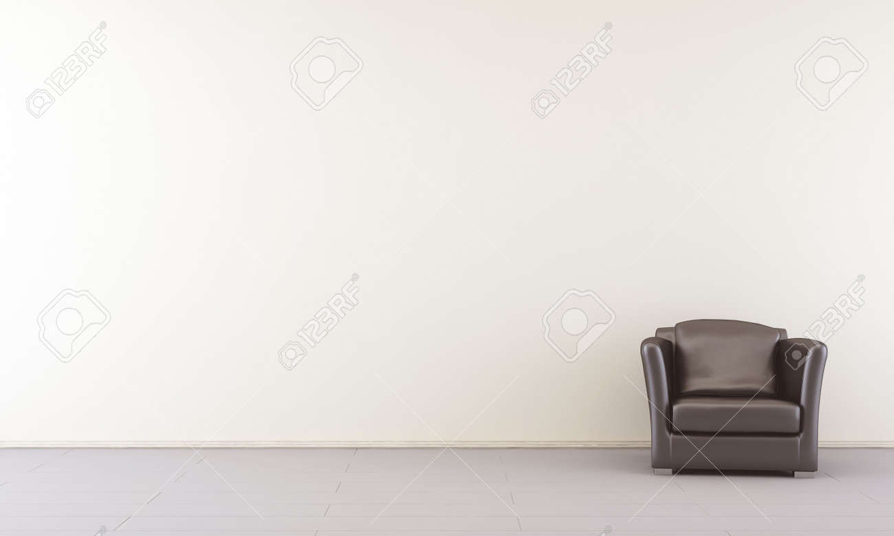 Black leather Armchair to face a blank white wall - right side - 5573574