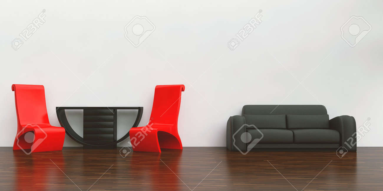 Red chair photography - Red Chairs Table And Black Couch To Face A Blank White Wall Stock Photo