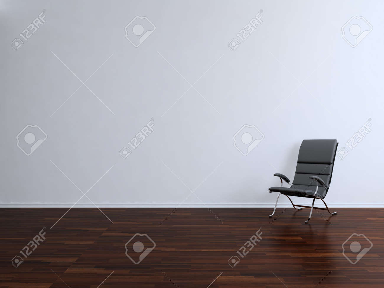 black leather armchair to face a blank white wall - 5573579