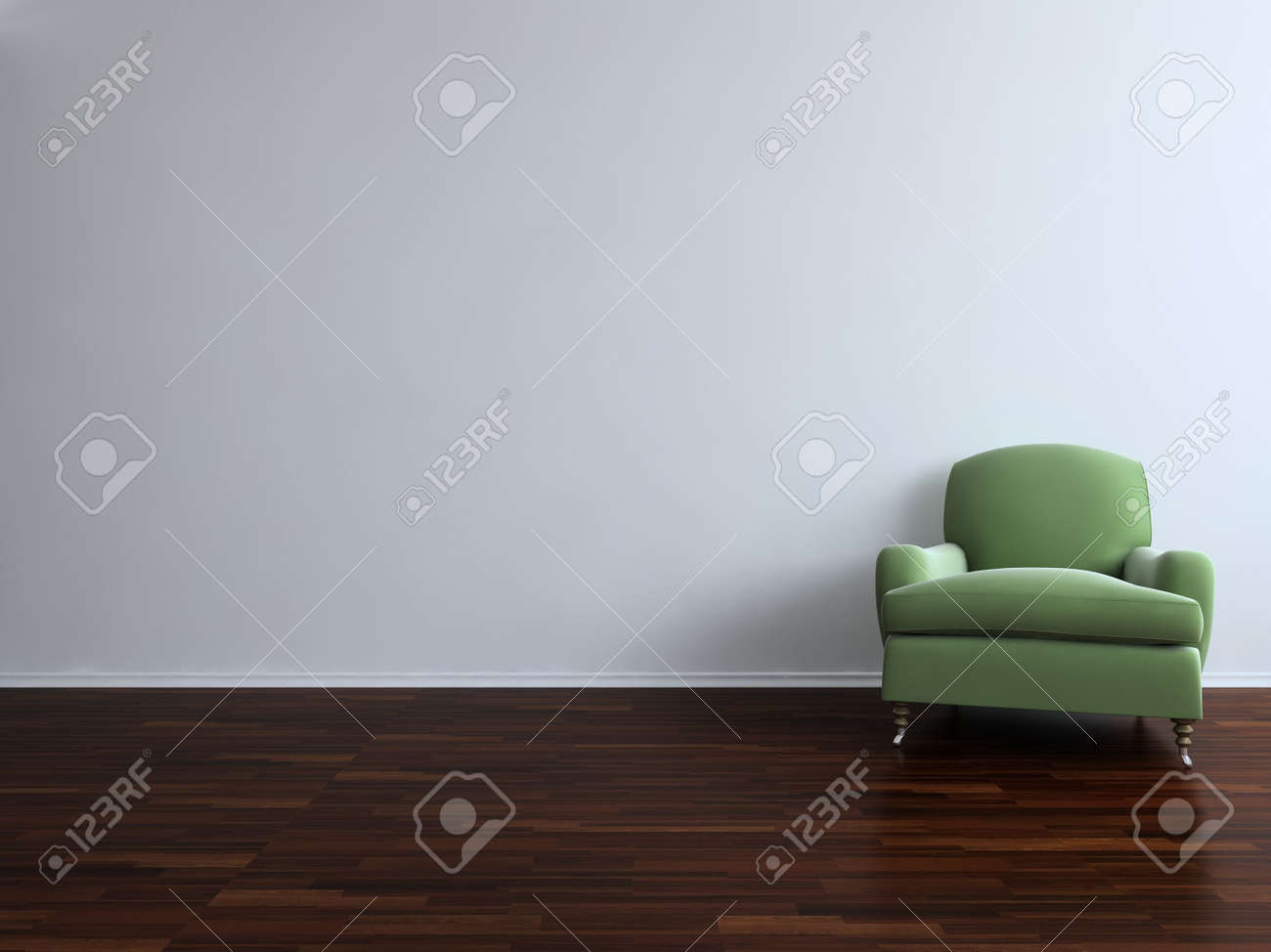 Green Chair to face a blank white wall - with parquet - right side of view - 5594368