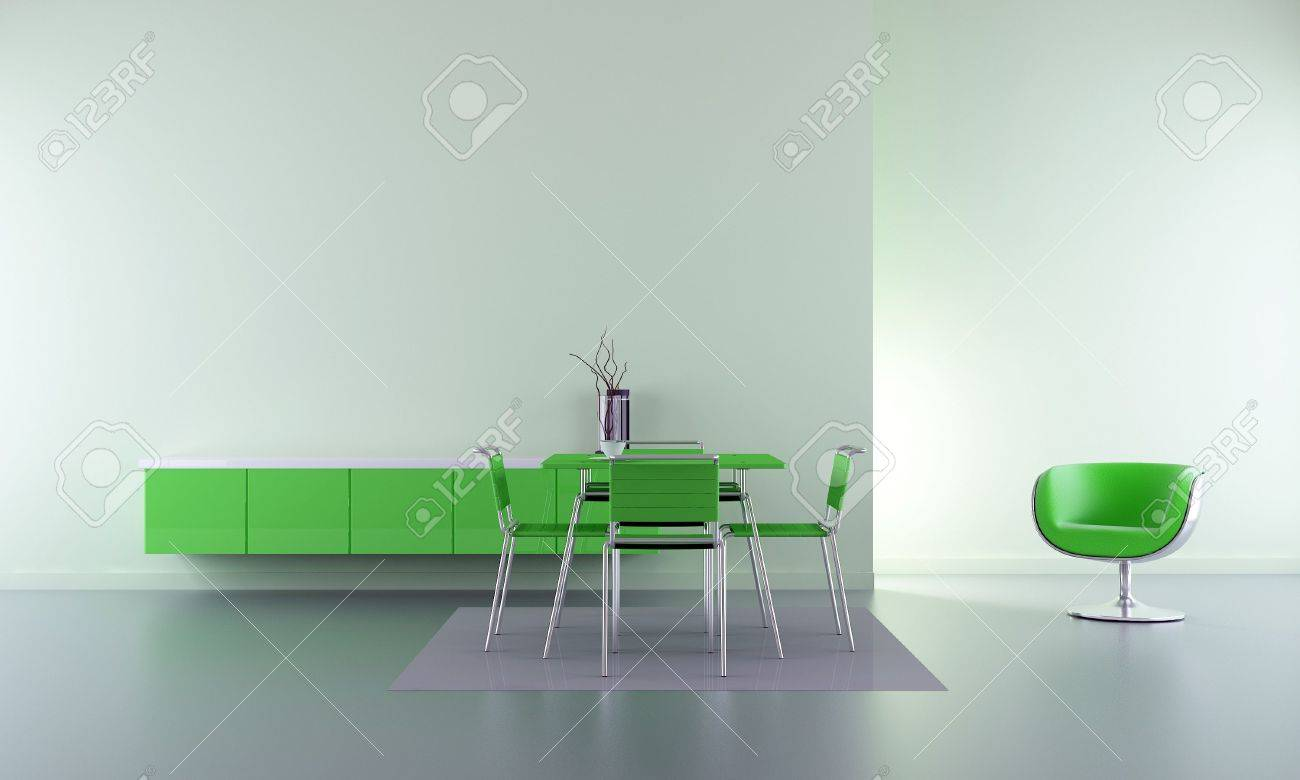 Dining room - chairs, table and rack in green - interior scene - 5594377