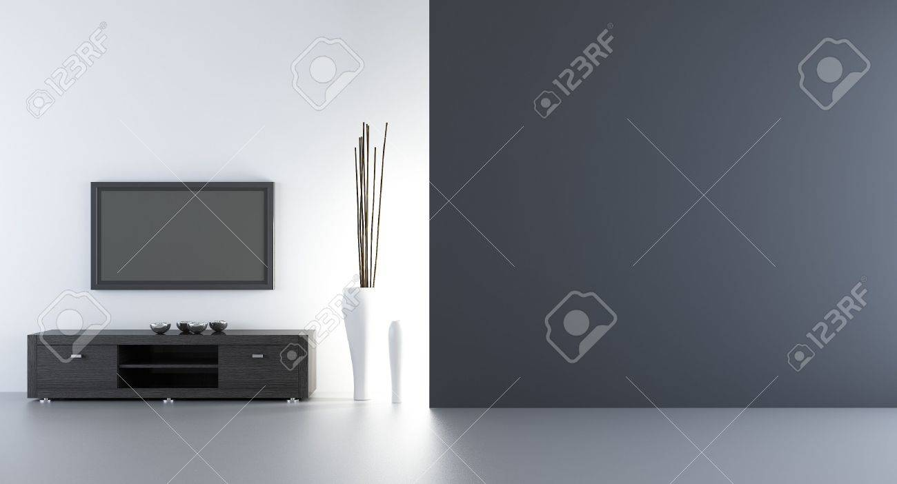flatscreen wth rack to face a blank white wall - left side of view - 5594370