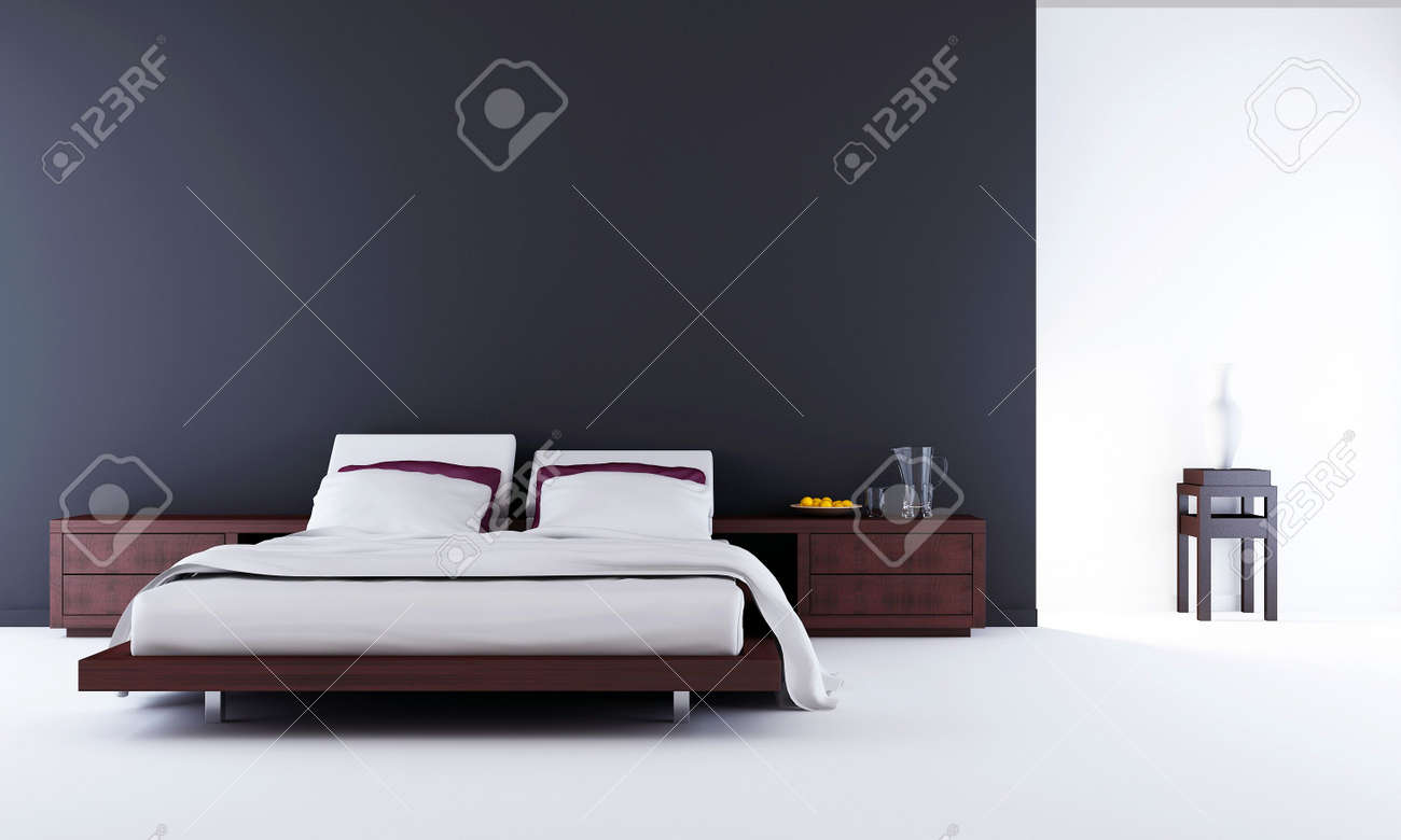 Living Room Setting   Bed To Face A Blank Wall Stock Photo   5594381