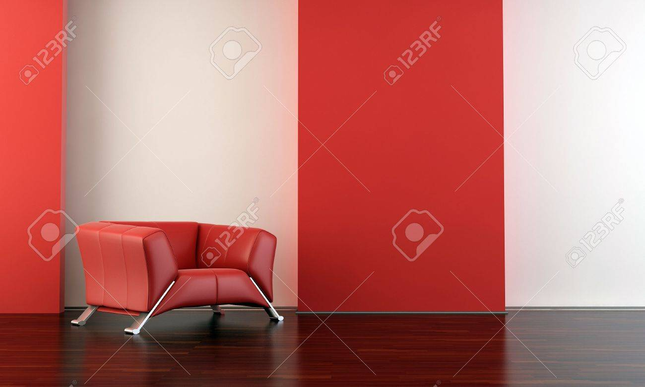 red leather armchair to face a blank white wall - with parquet - left side of view - 5594378