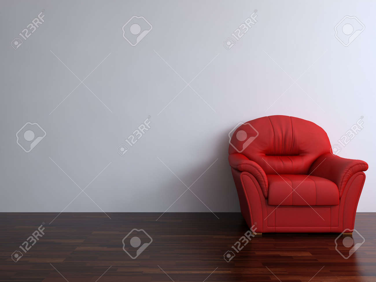 Red leather armchair to face a blank white wall - with parquet - right side of view - 5594384