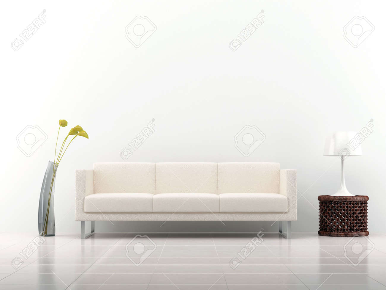 White leather Couch to face a blank white wall - with rack and vase - front view - 5594372