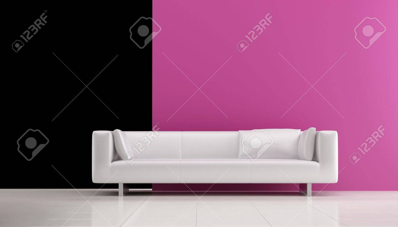 White leather Couch to face a blank white wall - front view - 5594385