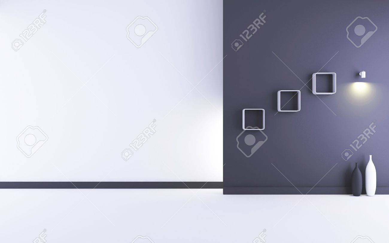 Blank Room and Wall - white and black wall with lamp - 5594412