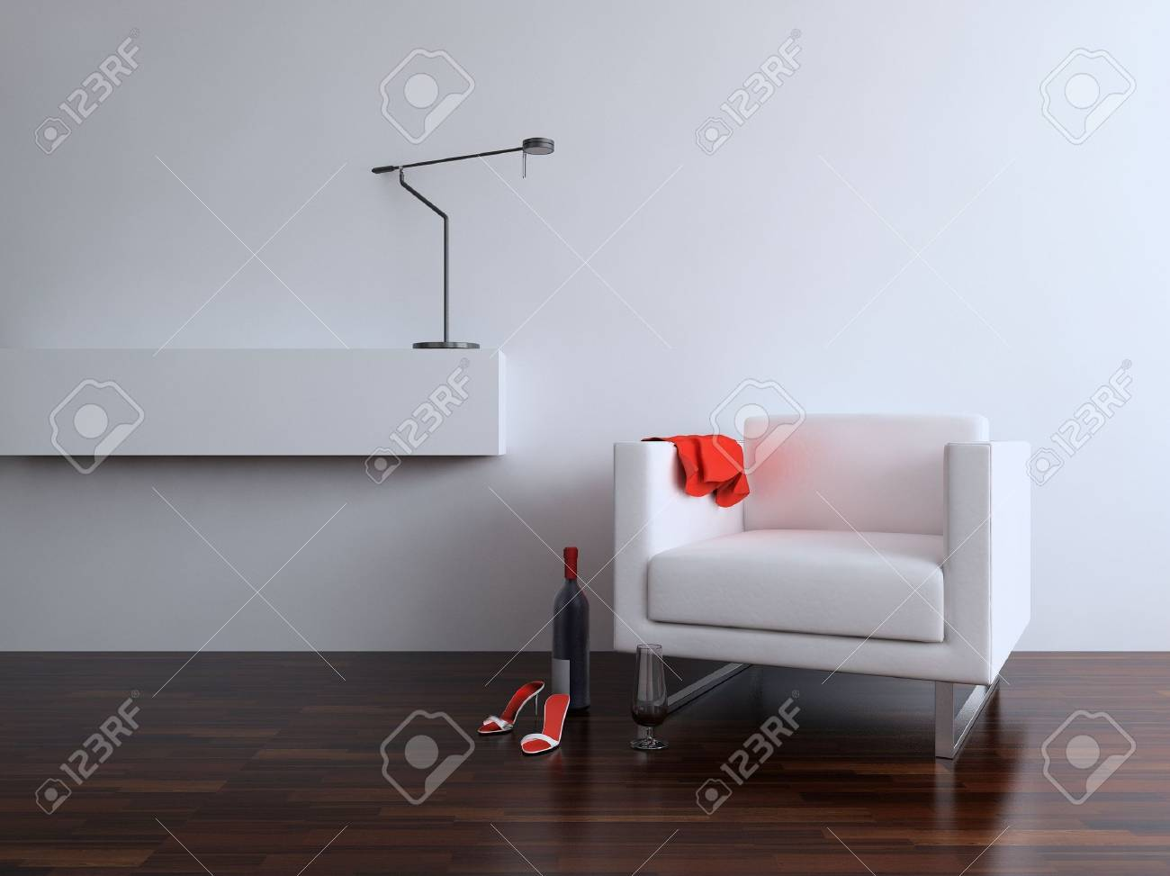 White leather Chair with Lamp to face a blank wall - 5594406