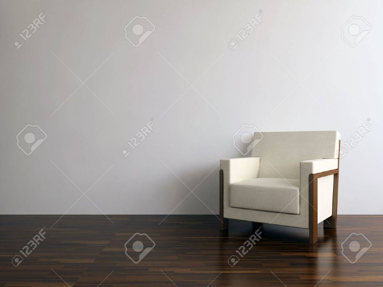 White leather armchair to face a blank wall - 5594409