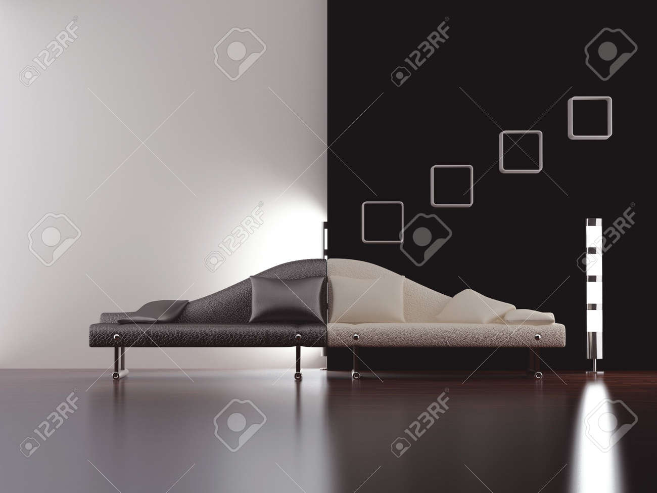 Modern stylish couch to face a blank white and black wall - front view - 5594400