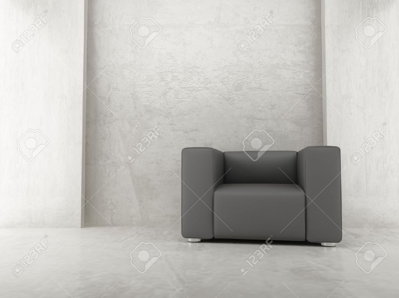Modern leather armchair to face a blank wall - front view Stock Photo - 5594404 & Modern Leather Armchair To Face A Blank Wall - Front View Stock ...