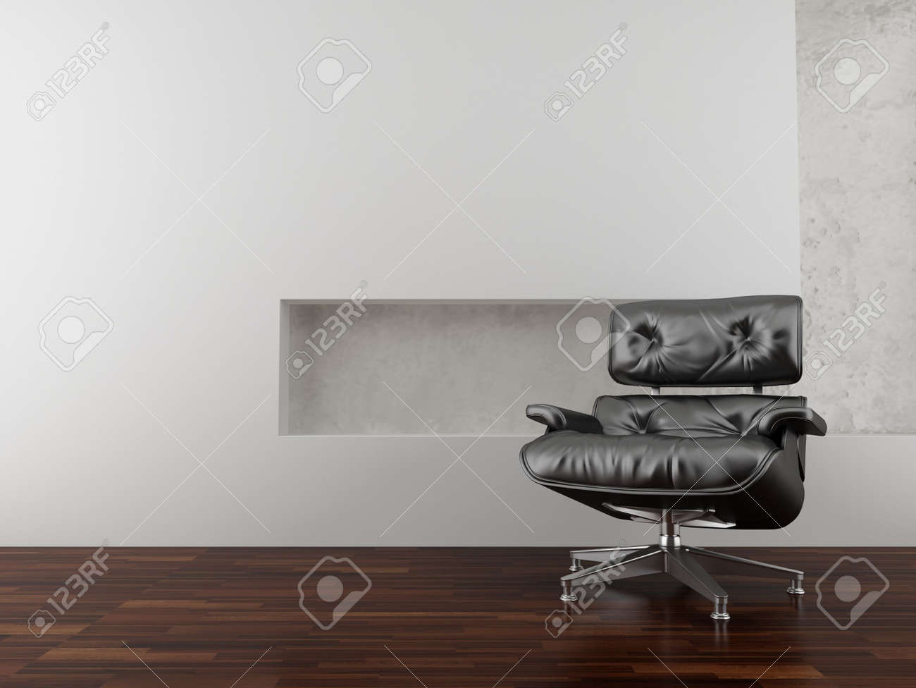 Modern black leather armchair to face a blank white wall - 5594410