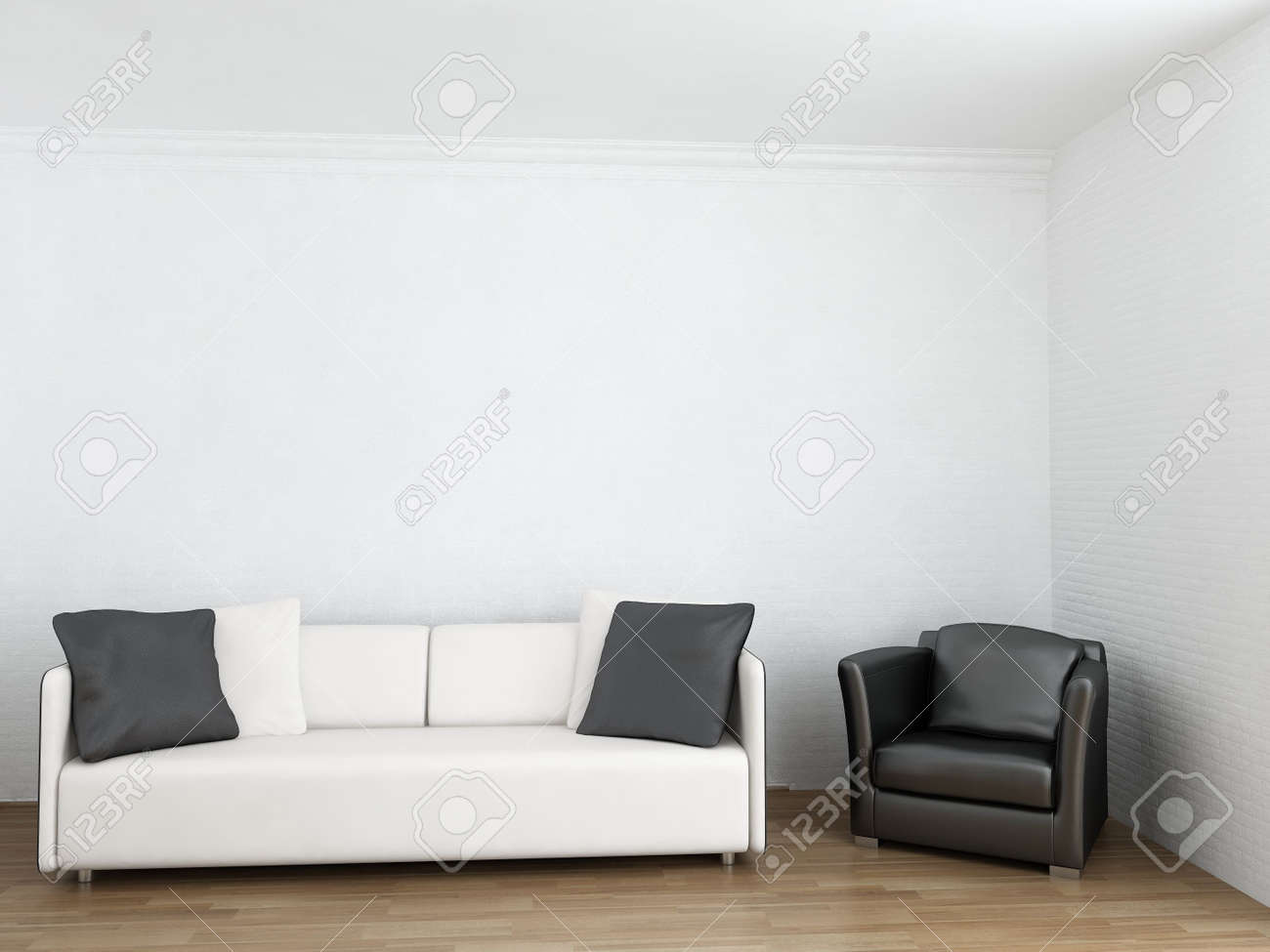 White Couch And Black Armchair To Face A Blank Wall Stock Photo - 5594407