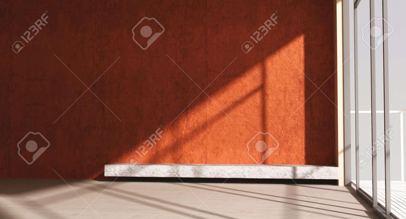 Mur rouge blanc et chambre avec fenêtre