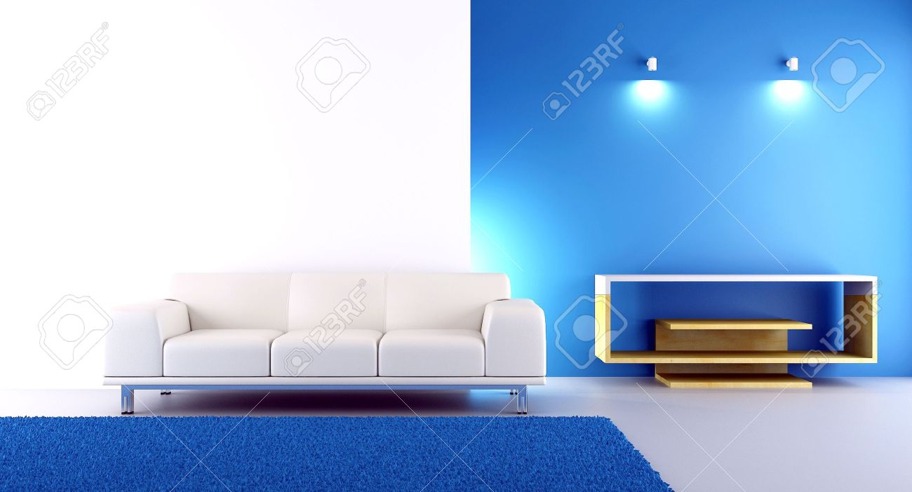 Living Room Setting - Couch To Face A Blank Wall Stock Photo ...