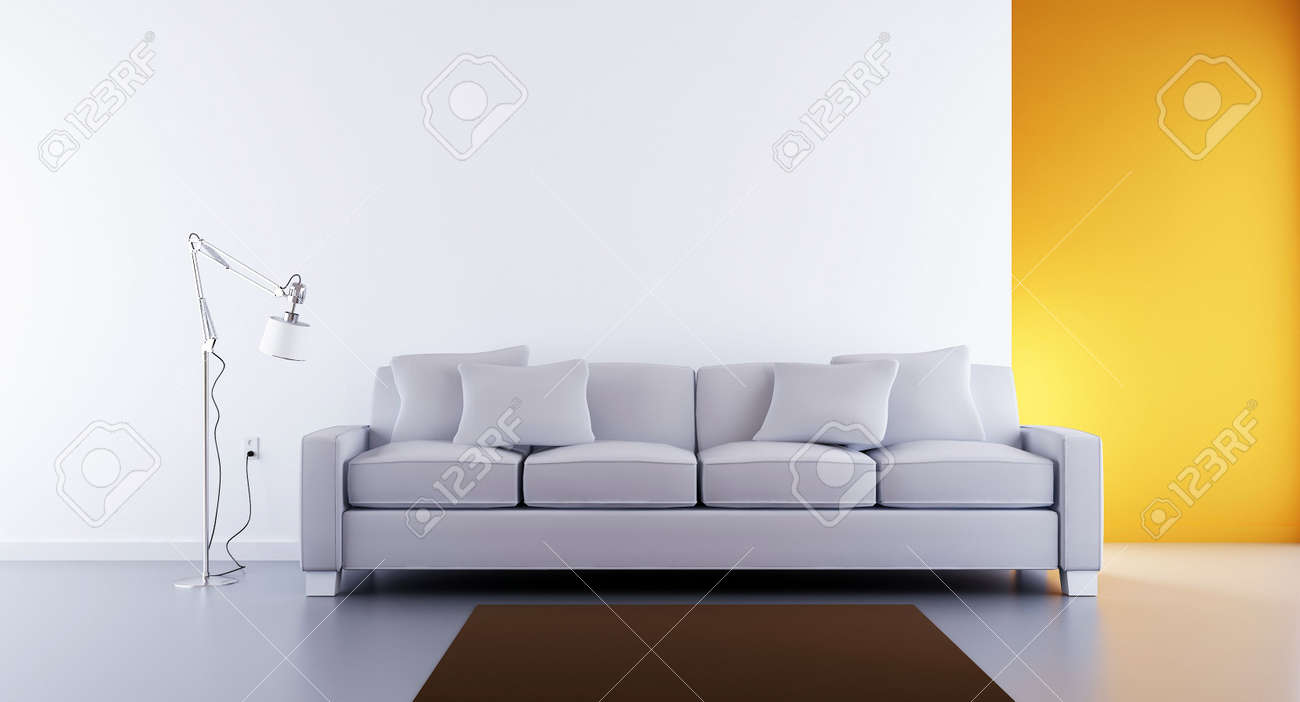 Living Room Setting   White Couch To Face A Blank White Wall Stock Photo    5688347