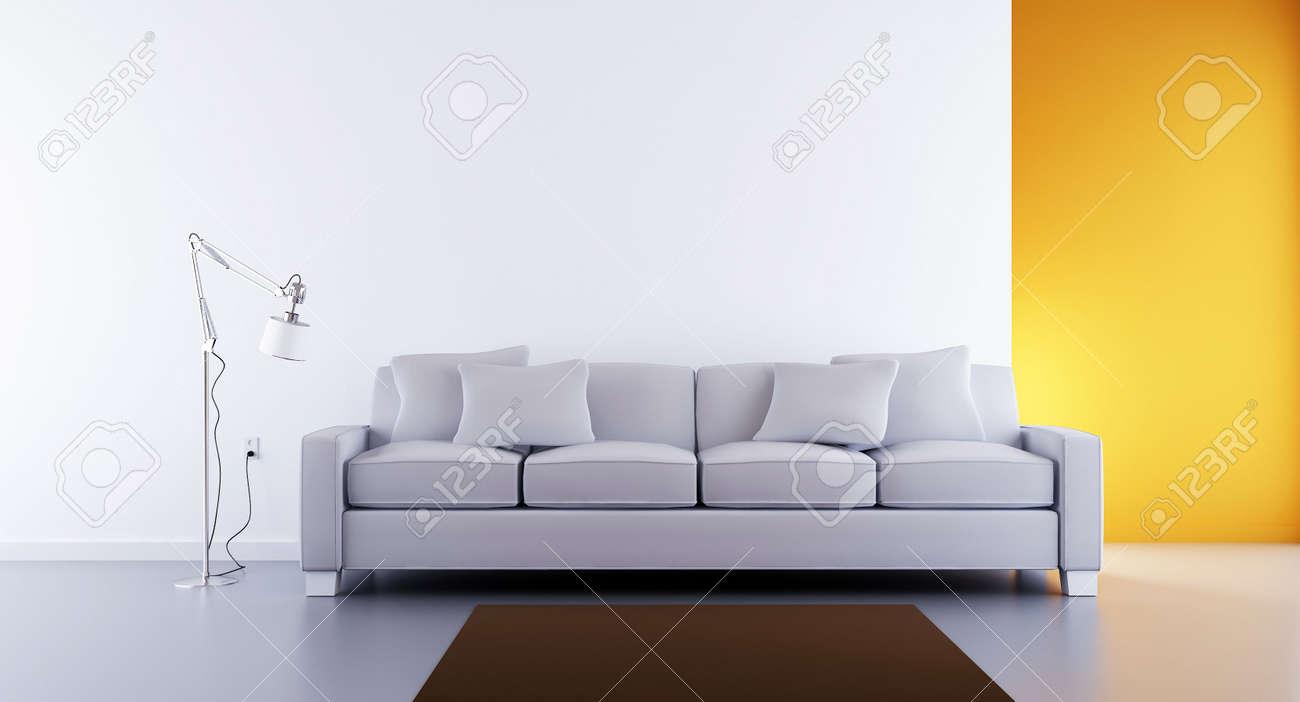 Wohnzimmer Einstellung - Weißen Couch Zu Gesicht Eine Leere Weiße ...