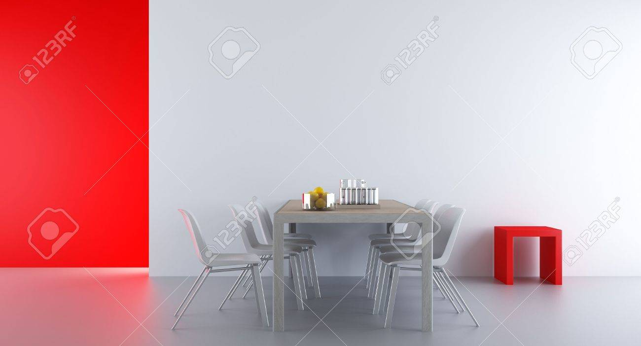 Four Chairs an table to face a white blank wall, with red rack - 5688340