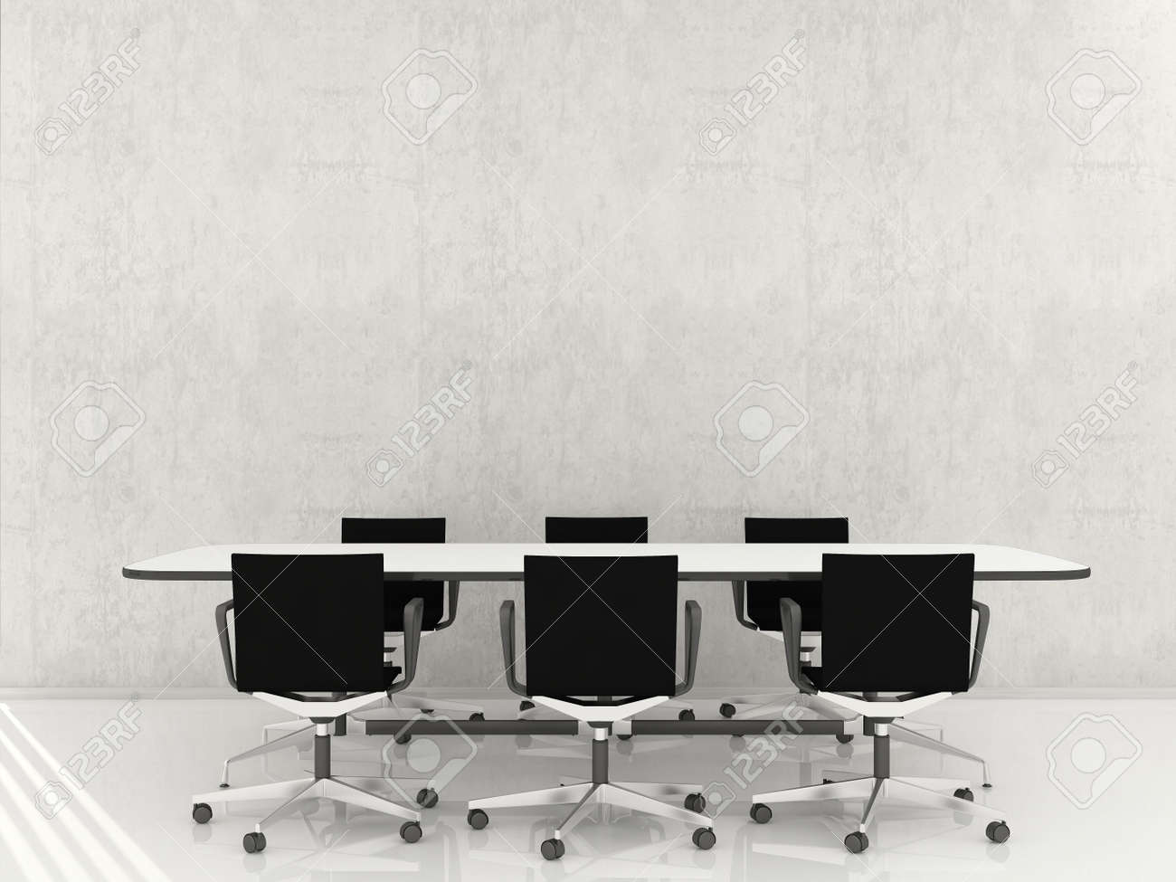 Many Chairs and table to face a blank wall - 5867545