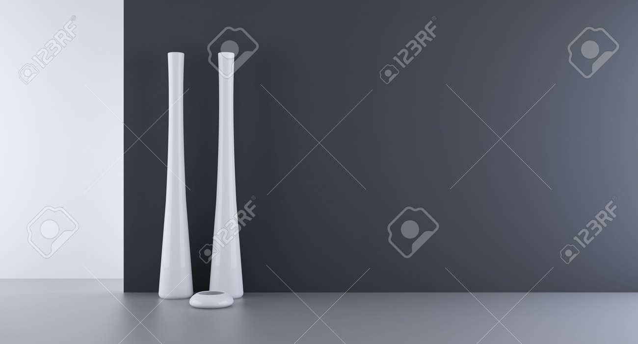Blank Room and Wall - black wall with vase - 5867580