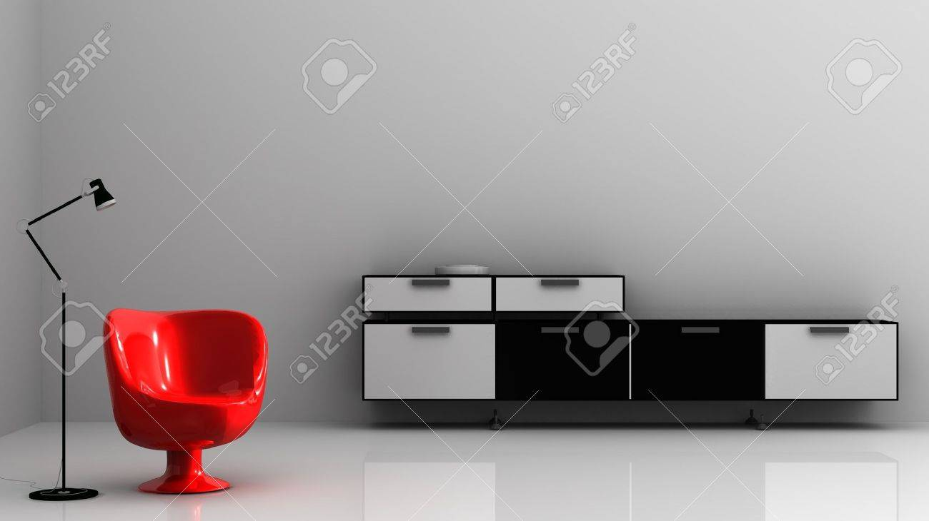 Living Room Setting - modern red chair and rack - 5867550