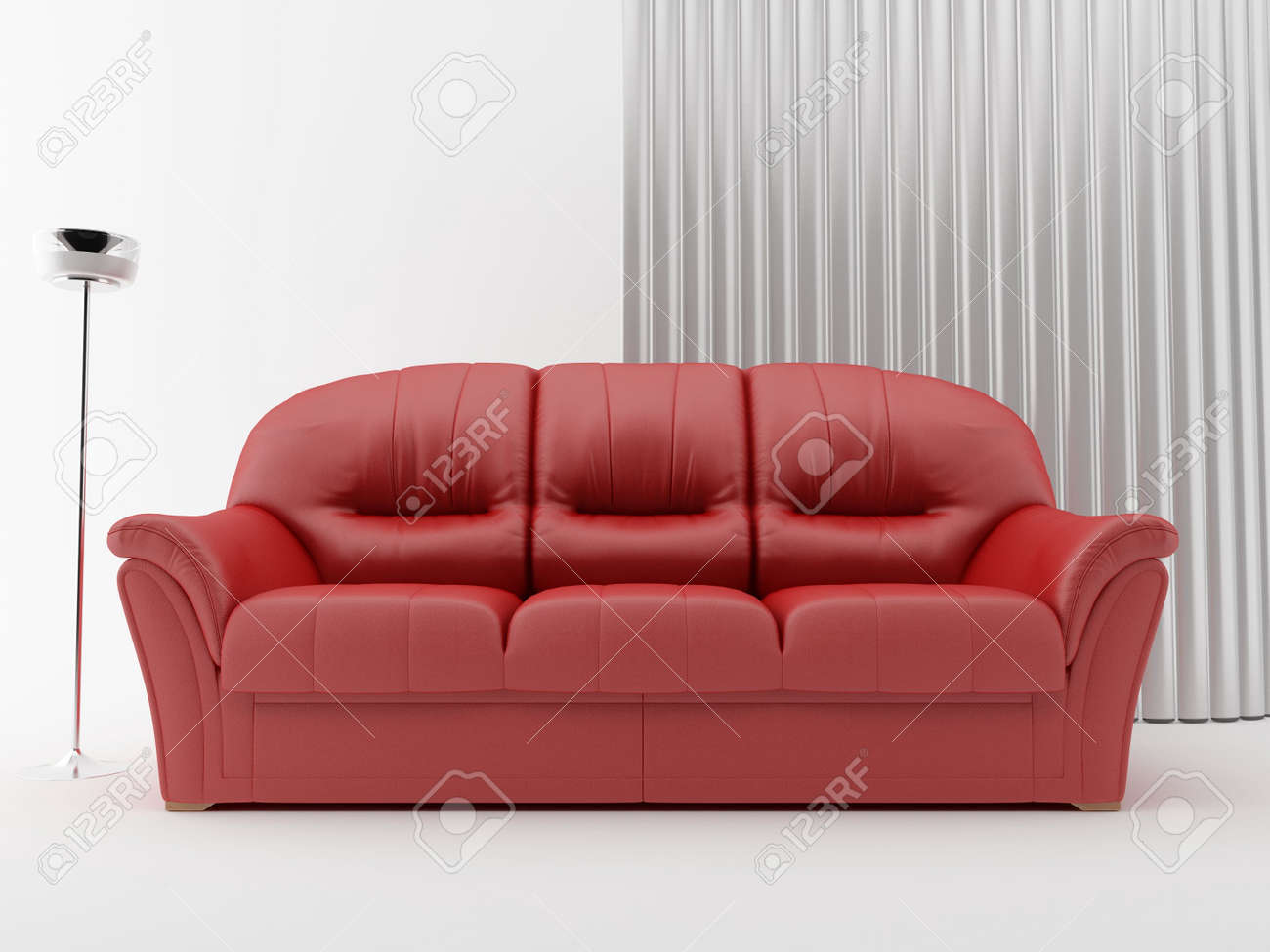 Modern red leather Couch to face a blank wall