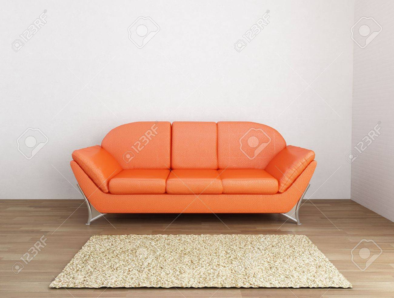 Orange Leather Couch To Face A Blank Wall Stock Photo   5958426