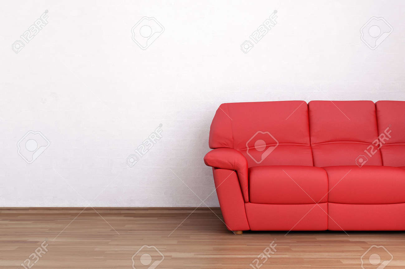 Red leather Couch to face a blank white wall - 5958427