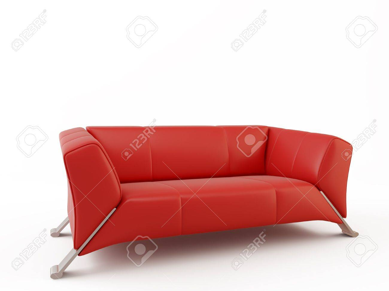 red leather couch - three seater - 5958433