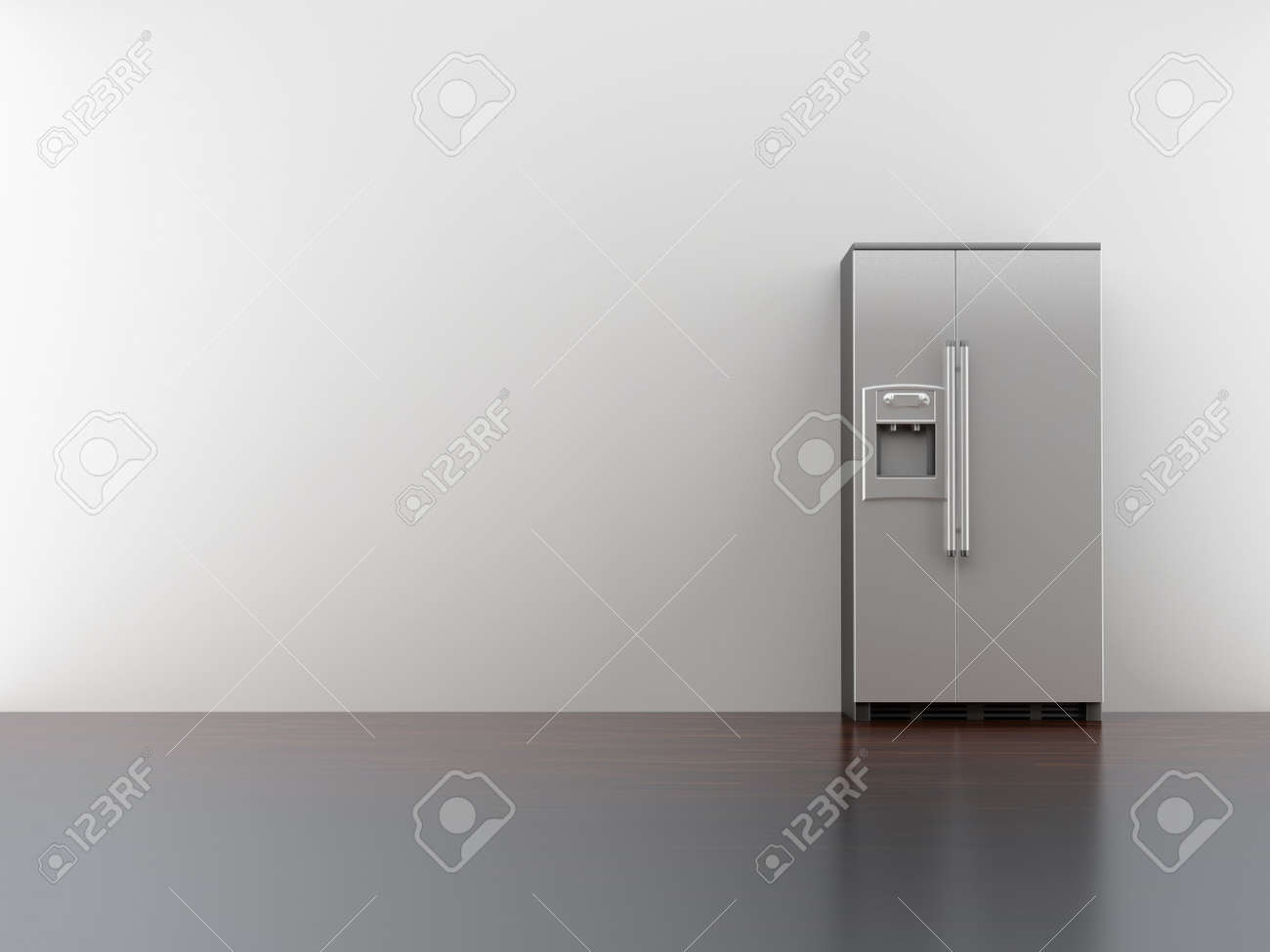 Blank Kitchen Wall Fridge On Blank White Wall Stock Photo Picture And Royalty Free