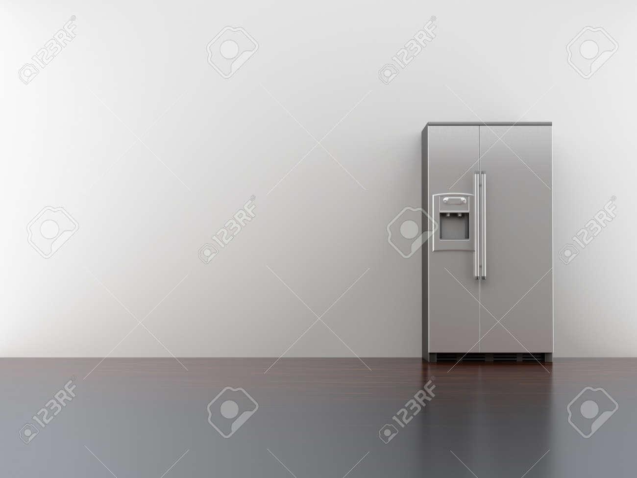 fridge on blank white wall - 5958429